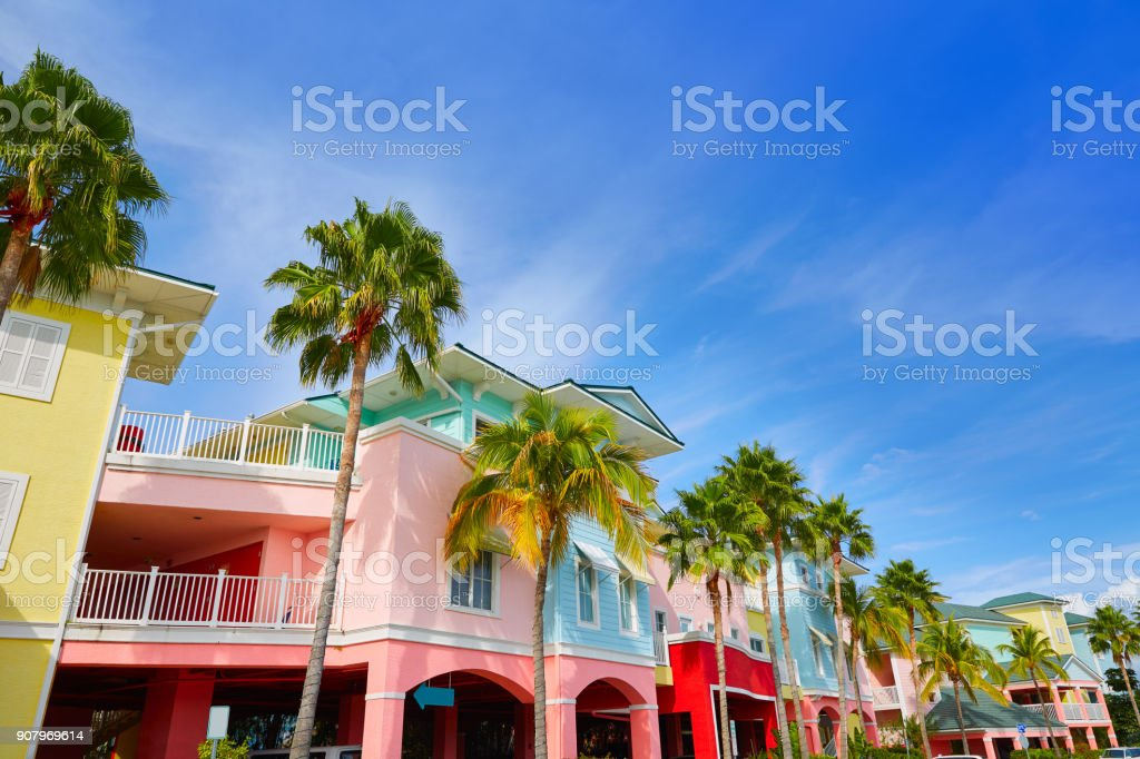 Florida Fort Myers colorful palm trees facades stock photo