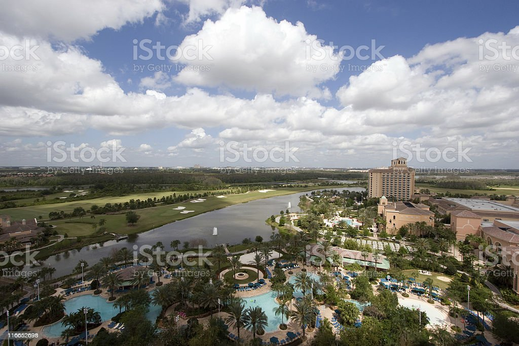 Florida golf resort hotel from above royalty-free stock photo