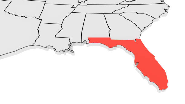 Florida highlighted on 3D Map stock photo
