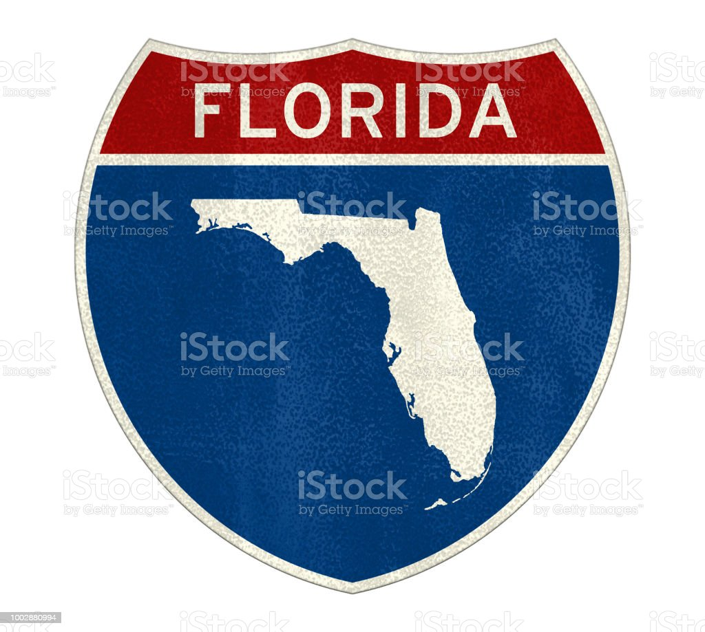 Map Of Florida Highways.Florida Interstate Road Sign Map Stock Photo More Pictures Of