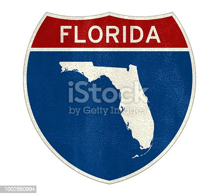istock Florida Interstate road sign map 1002880994