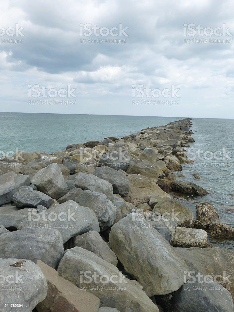 Florida Jetty stock photo