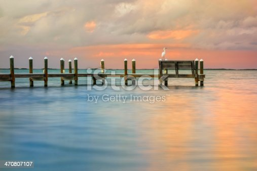 Sunset in Key Largo with a Great Egret resting on a pier.