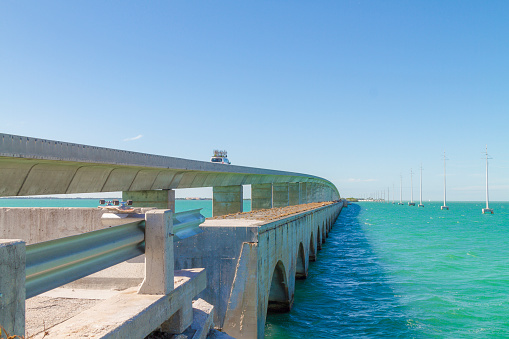 Florida Keys Seven Miles Bridge, Florida, USA in a summer hot sunny day.  Traveling concept. Reopening borders concept.