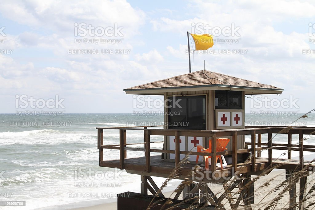 Florida lifeguard hut overlooking beach stock photo