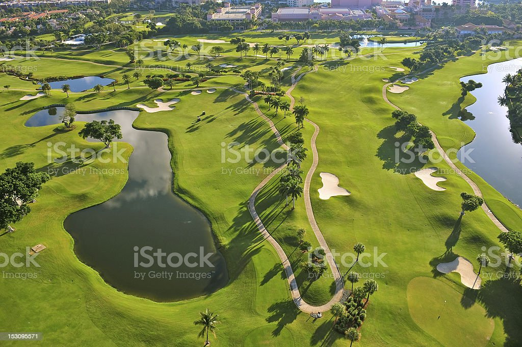 Florida luxury municipal golf course aerial view stock photo