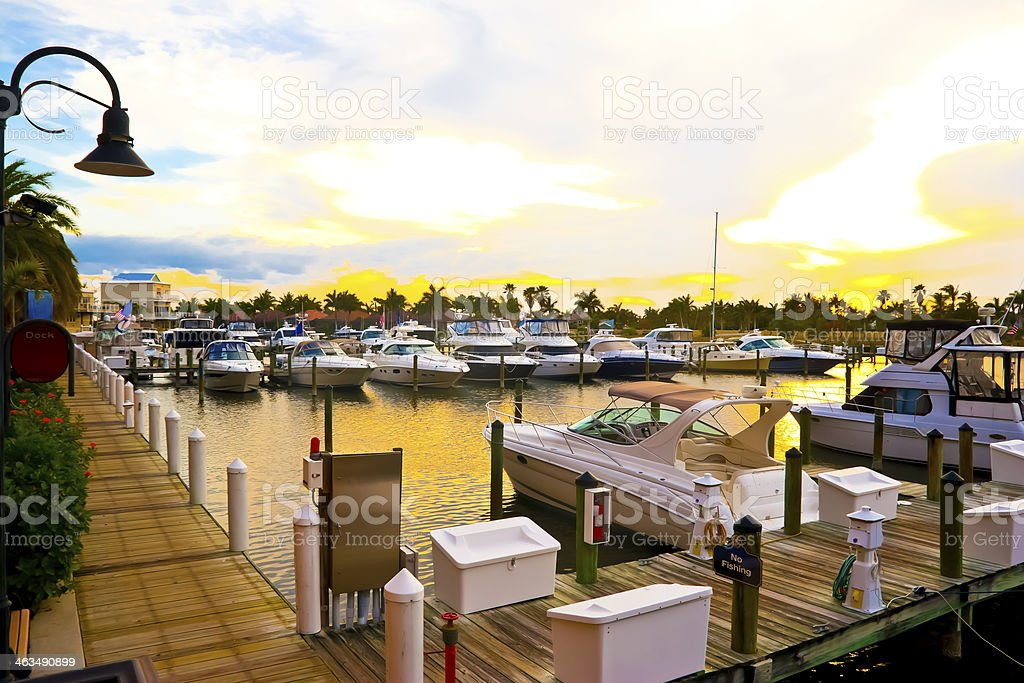 Florida Marina at Sunset stock photo