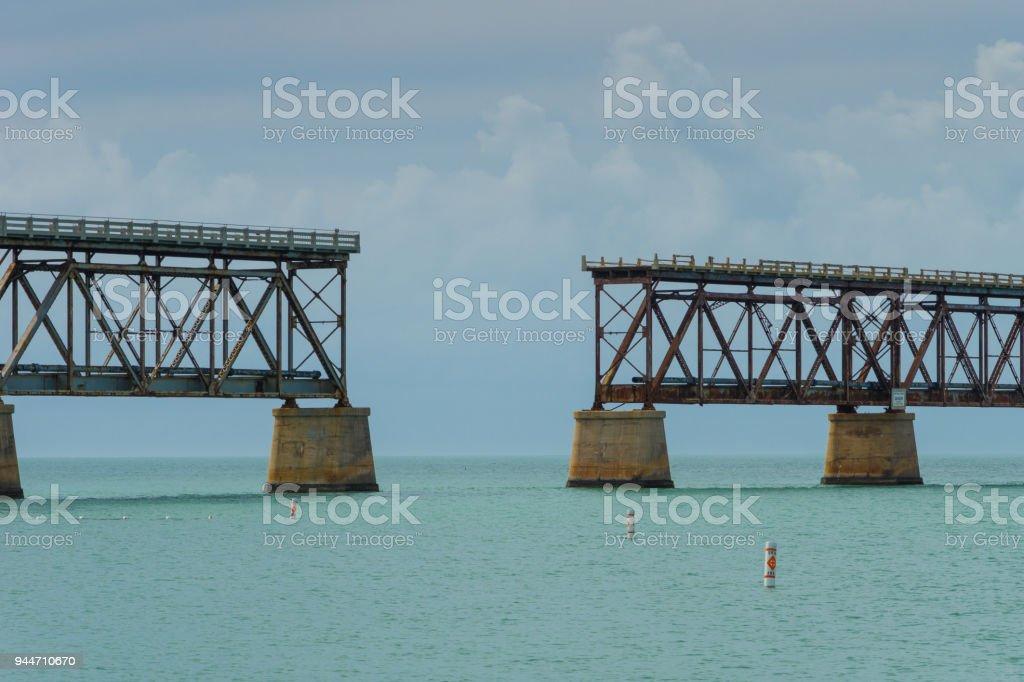 USA, Florida, Old overseas railway bridge made of rusty steel and concrete in the ocean stock photo