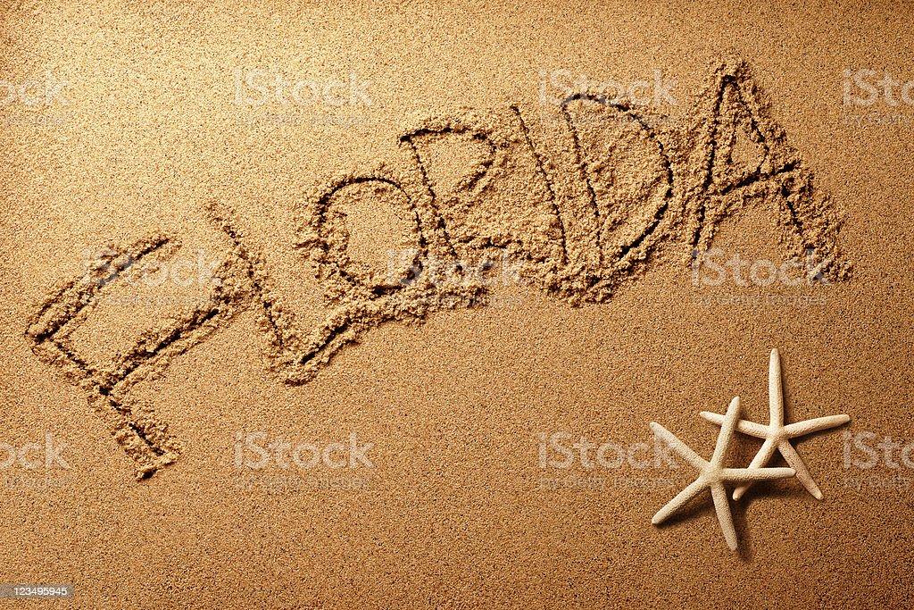 Florida sand writing stock photo