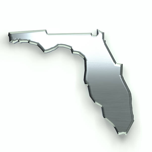 Florida Silver Map. 3D Rendering Illustration - Photo