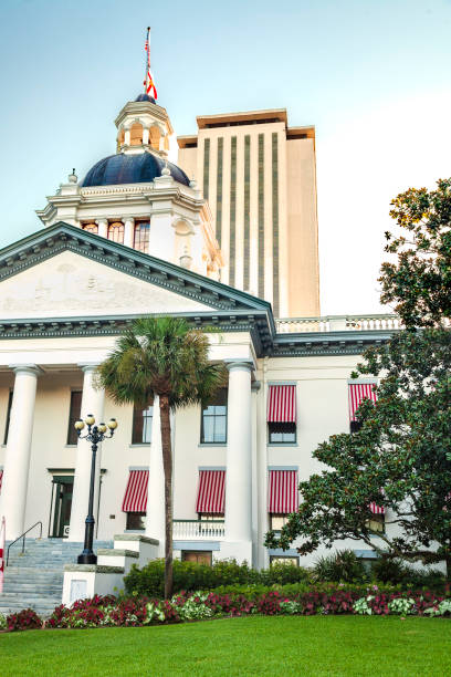 Florida State Capital Buildings in Tallahassee - the historic old one and the high rise new one