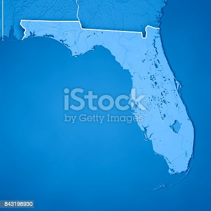 186815169istockphoto Florida State USA 3D Render Topographic Map Blue Border 843198930