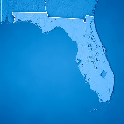 186815169 istock photo Florida State USA 3D Render Topographic Map Blue Border 843198930
