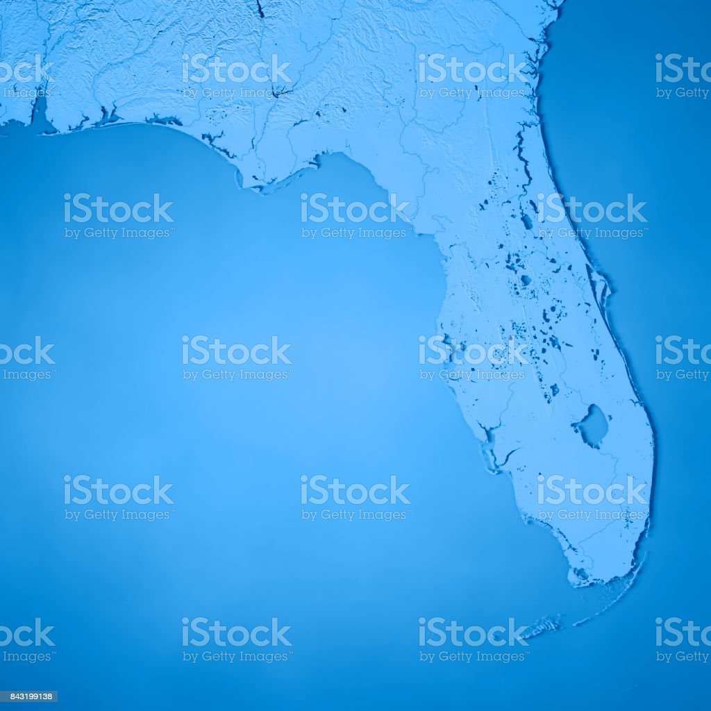 Topographic Map Of Florida.Florida State Usa 3d Render Topographic Map Blue Stock Photo More