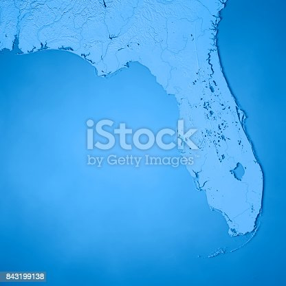 186815169istockphoto Florida State USA 3D Render Topographic Map Blue 843199138