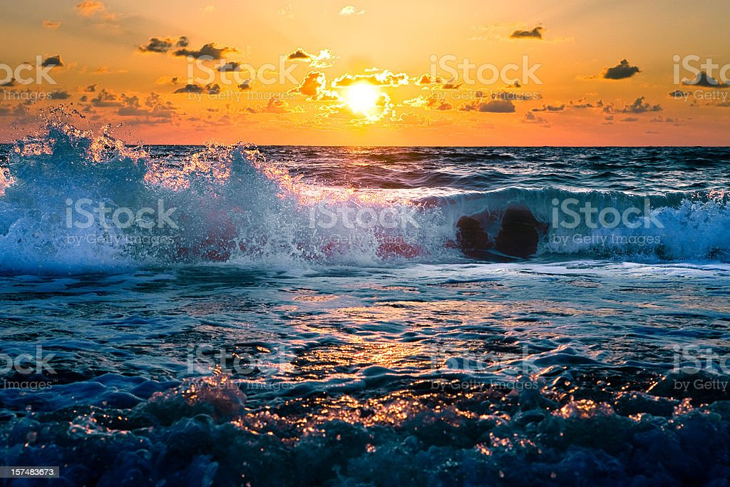 Florida Sunset Over the Ocean royalty-free stock photo