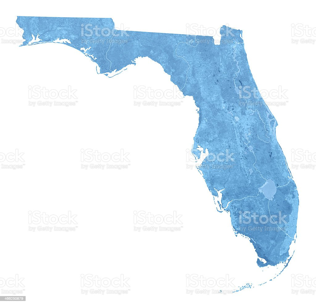Florida Topographic Map Isolated royalty-free stock photo