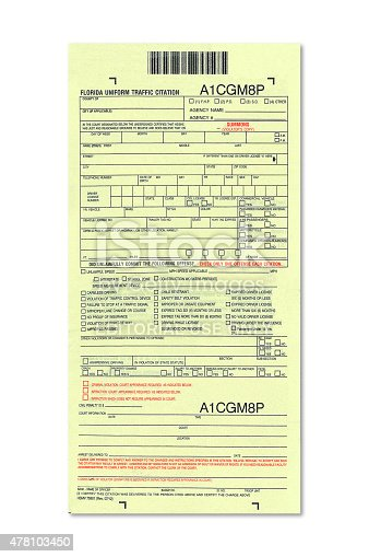 Miami, Florida US - November 29, 2009: Official Florida's traffic ticket document used by police and state trooper forces.
