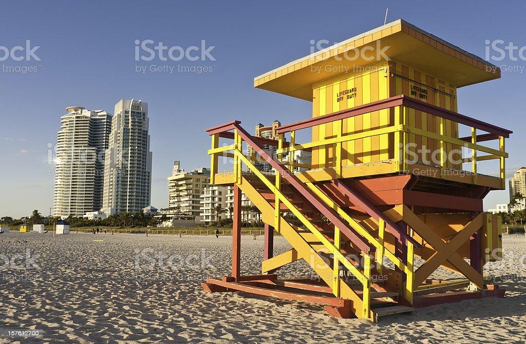 Florida vibrant lifeguard hut Miami Beach high rise USA royalty-free stock photo