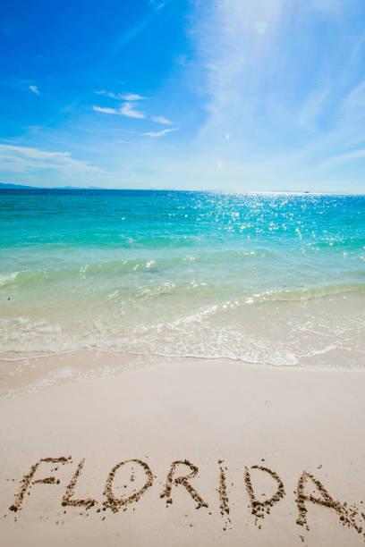 Florida word on a beach stock photo