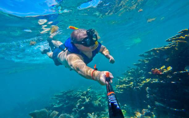 Florida,Key Largo Snorkeling Selfie stock photo