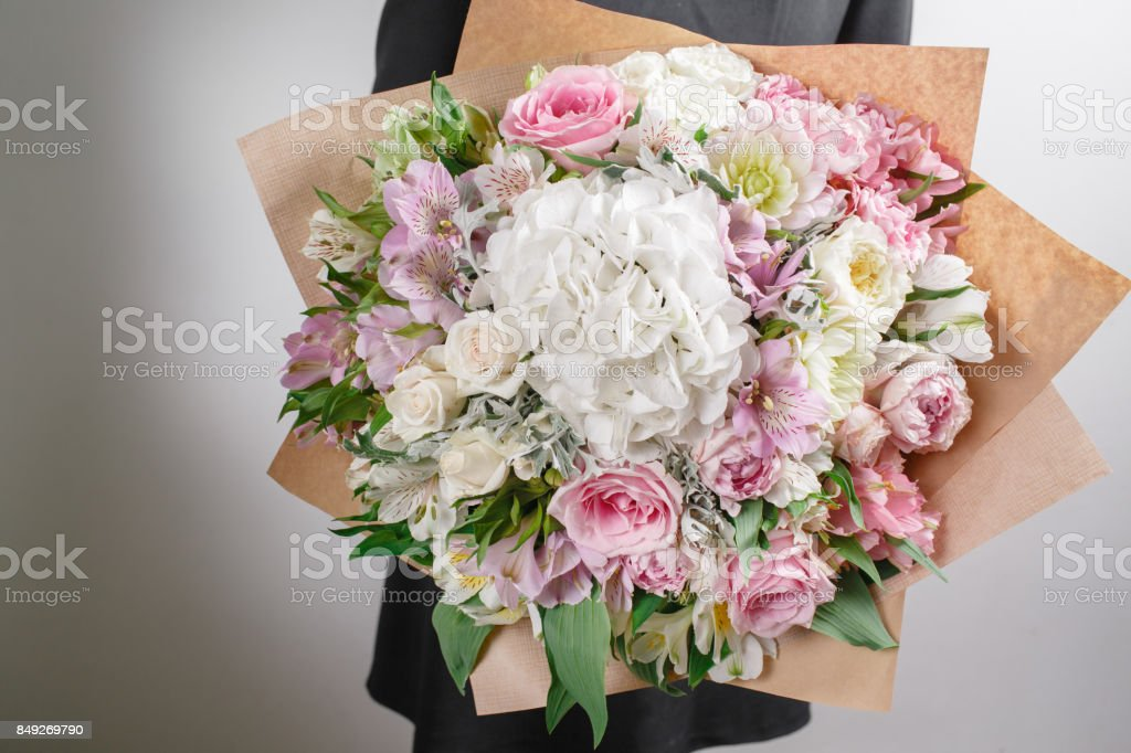 Florist At Work Make Hydrangea Rich Bouquet Vintage Floristic Background Colorful Roses Antique Scissors And A Rope On An Old Wooden Table Stock Photo Download Image Now Istock