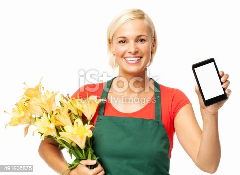 istock Florist Holding Bouquet While Displaying Smart Phone 491605875