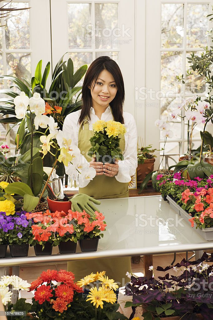 Florist in the Flower Shop royalty-free stock photo