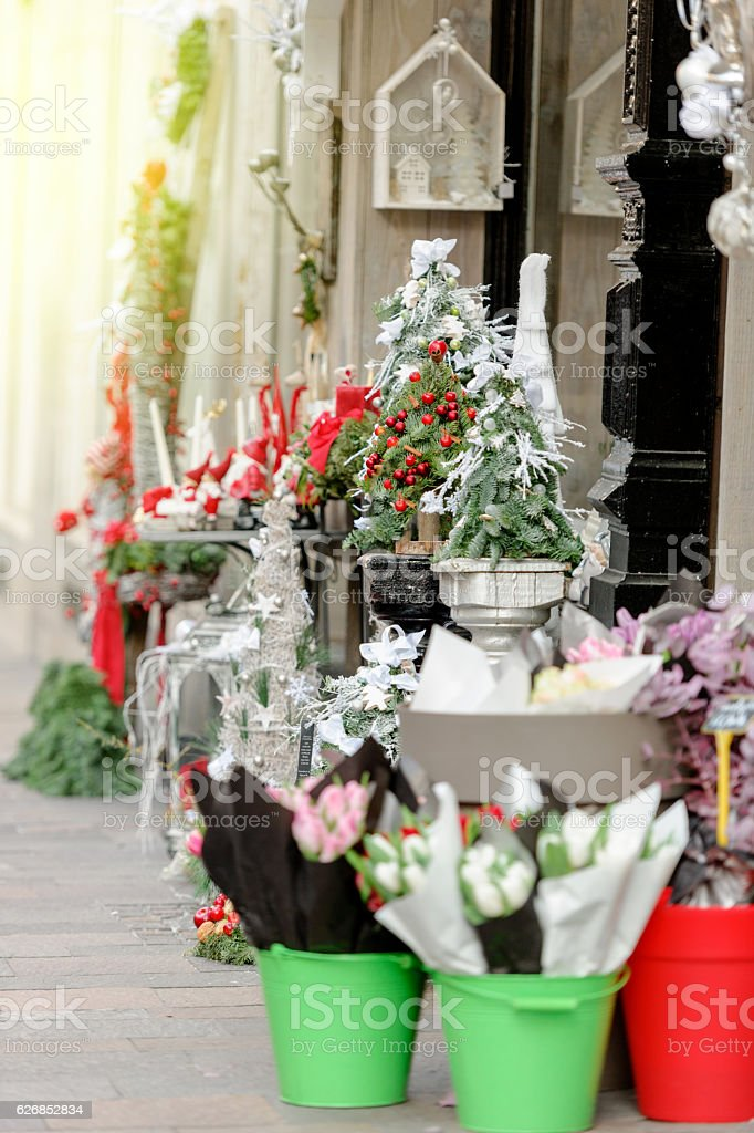 Florist Store Outdoor With Flowers And Christmas Decorations Stock