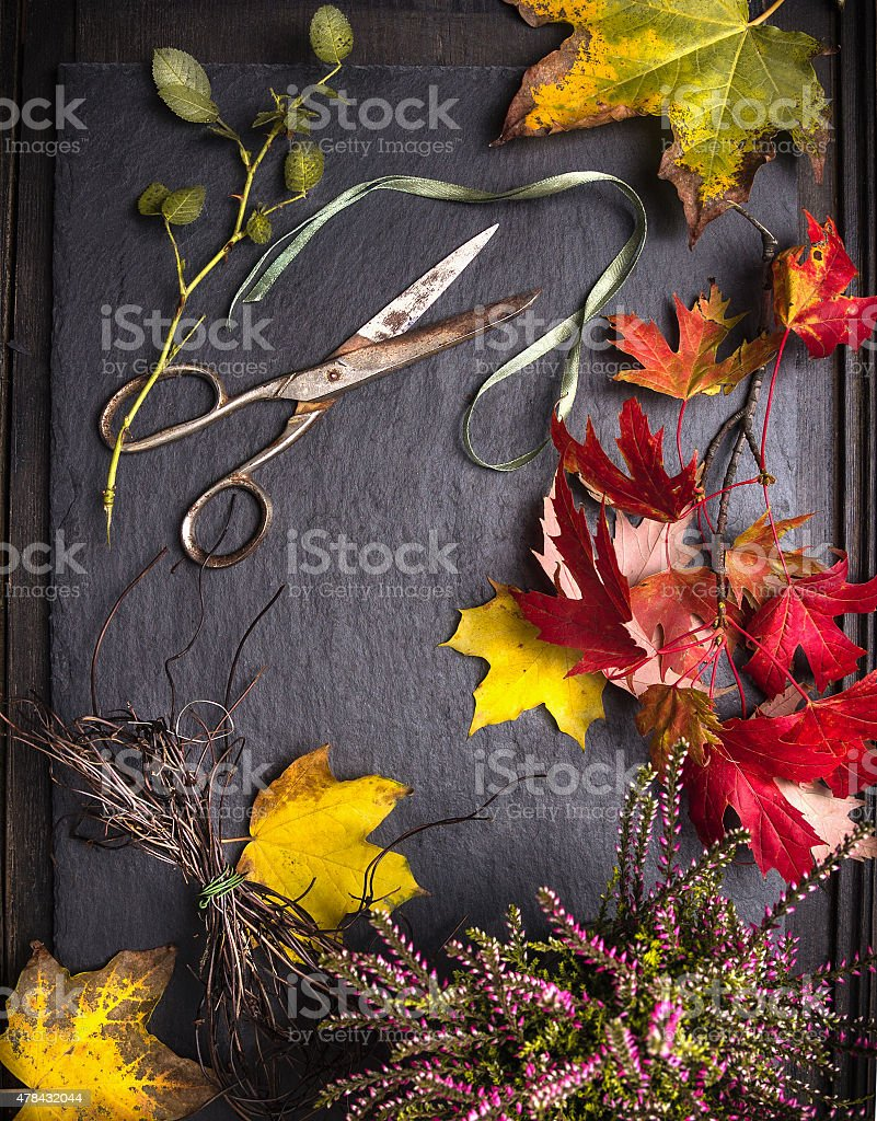 Florist table with autumn leaves, scissors and tape stock photo