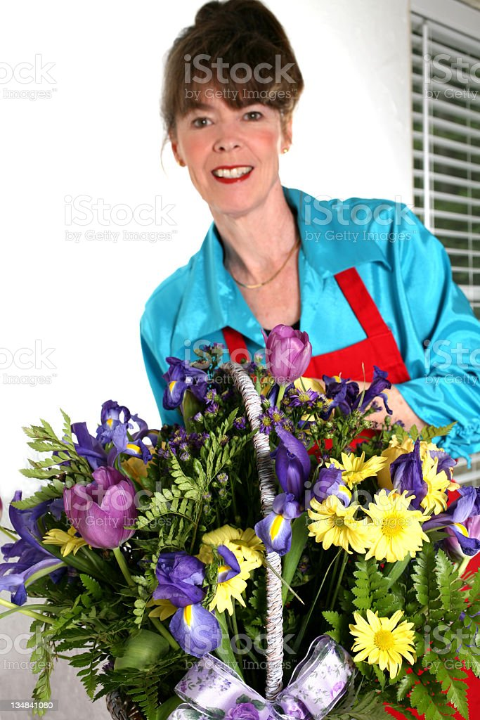 Florist with delivery royalty-free stock photo