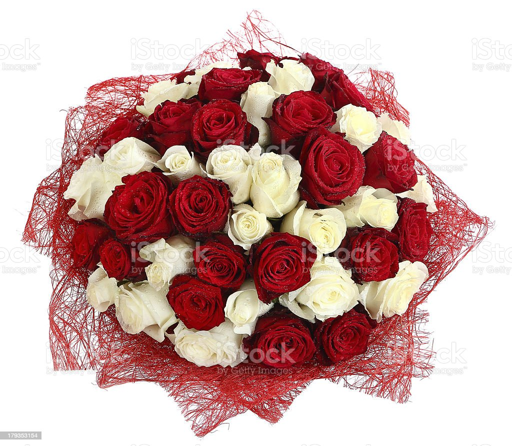 Floristic arrangement of white and red roses. Floral composition stock photo