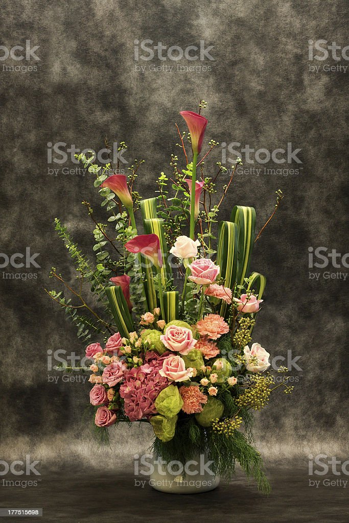 Florists, pink rosr in vase. royalty-free stock photo