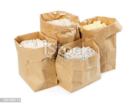 912671588istockphoto Flour and flour mixture in paper bags 1081389114