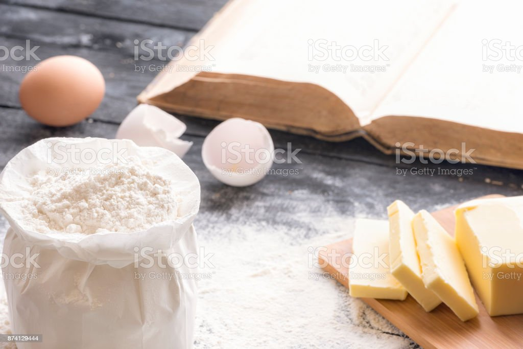 Flour and other baking ingredients stock photo