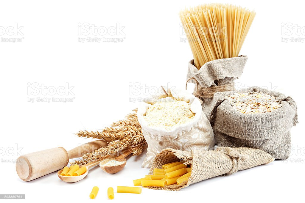 Flour, cereals, pasta in a canvas bag and ear. stock photo