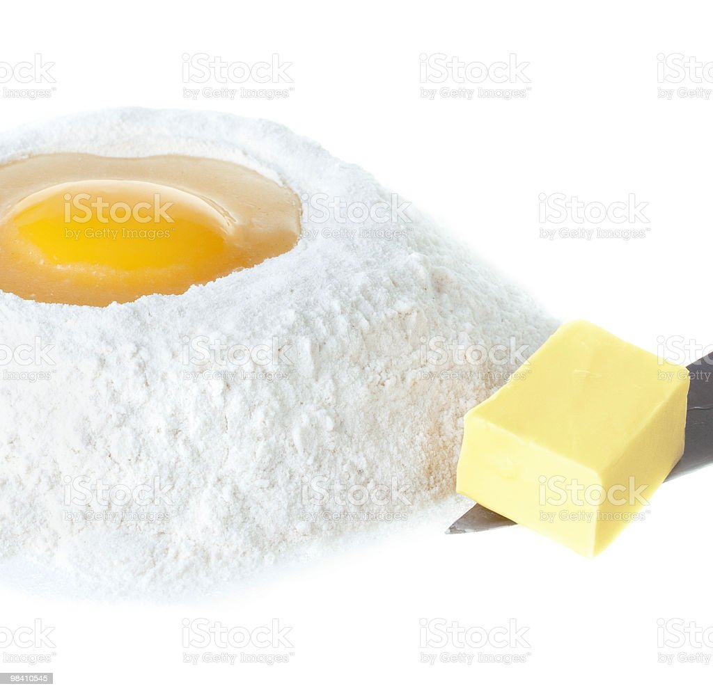 Flour, egg and butter royalty-free stock photo