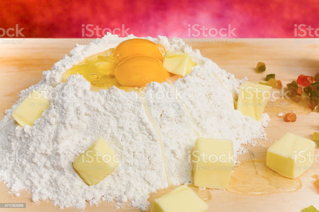Flour, Eggs And Butter - Closeup royalty-free stock photo