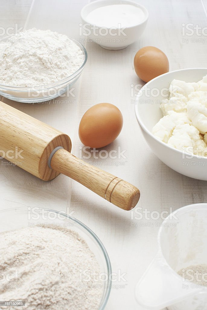Flour, eggs and ricotta cheese royalty-free stock photo