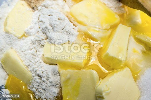 istock flour, eggs, butter and sugar, ingredients for shortcrust pastry 538027224