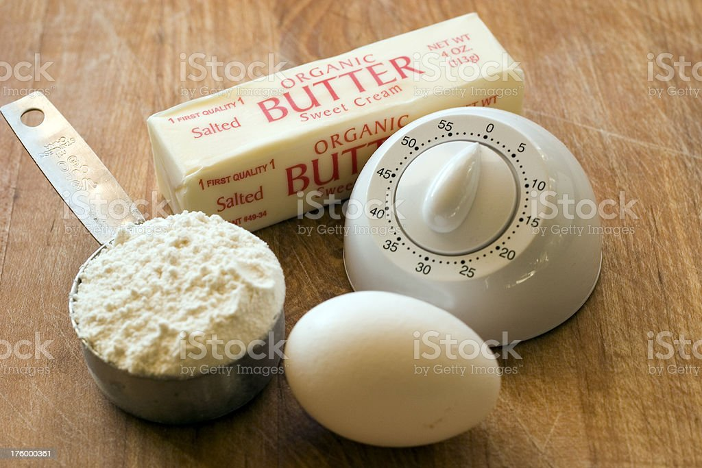 Flour Eggs Timer Butter royalty-free stock photo