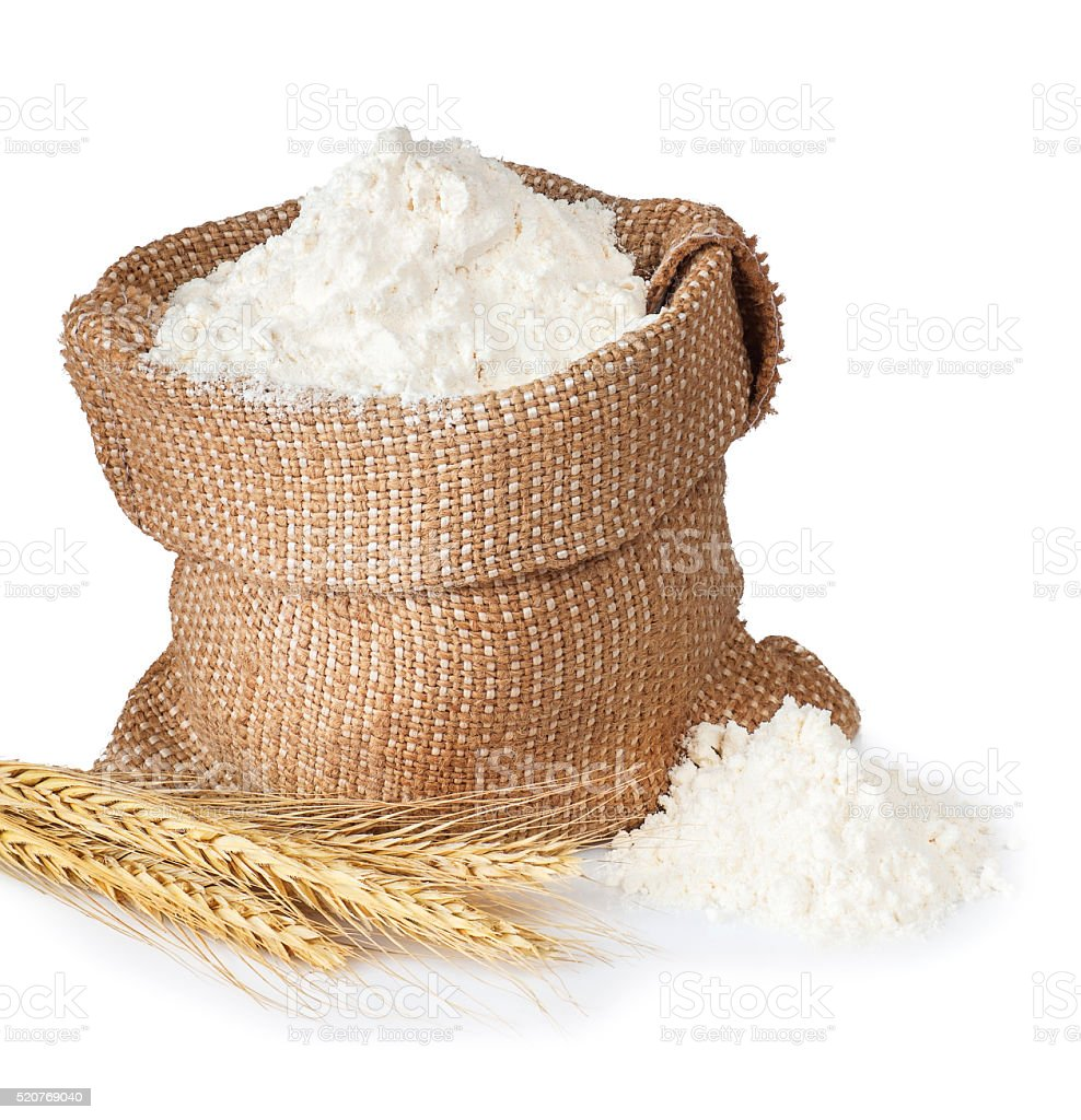 flour in bag with wheat ears stock photo