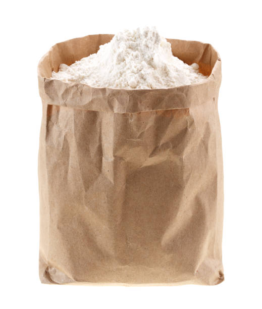 flour in Kraft paper-pack without labels stock photo