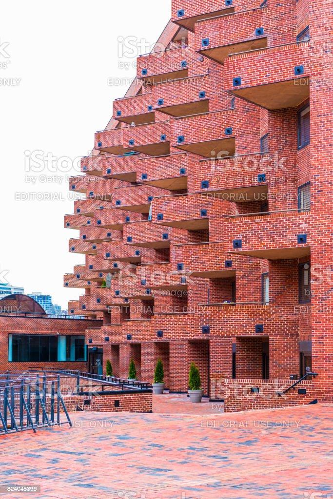 Flour Mill Condominium unique brick architecture in Georgetown neighborhood with balconies stock photo