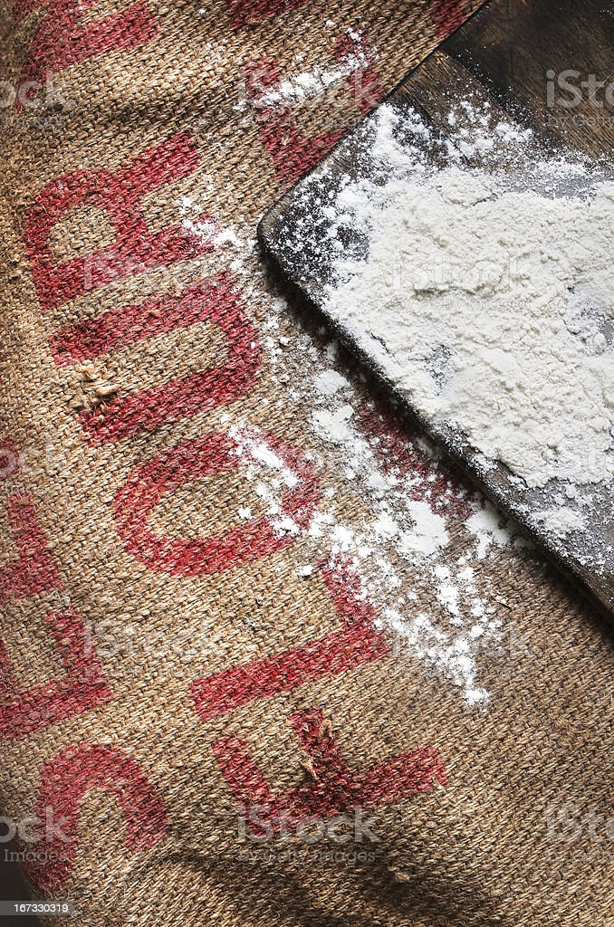 flour on old hessian sack royalty-free stock photo