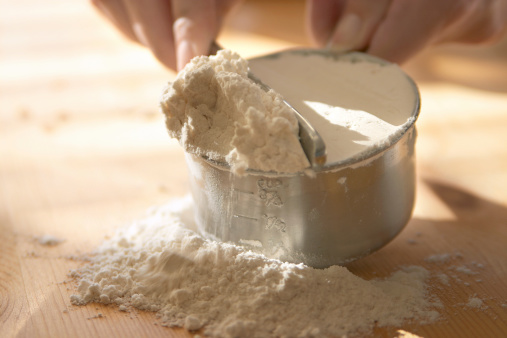 Baking - measuring flour.