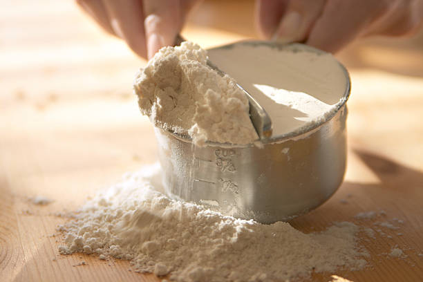 Flour Baking - measuring flour. dry measure stock pictures, royalty-free photos & images