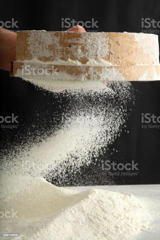 flour sieved stock photo