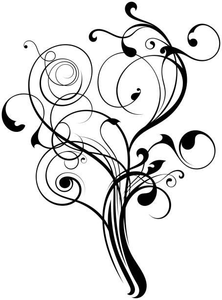 flourish tree ornament shape on white - motif ornemental photos et images de collection