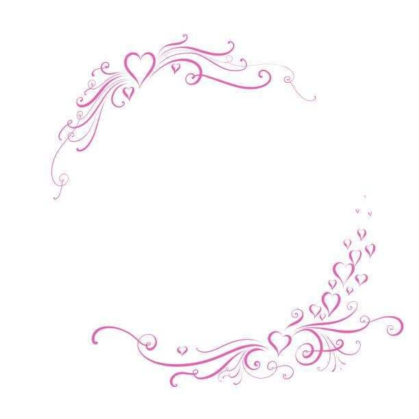 éléments de design se sont épanouis avec les cœurs et les tourbillons pour cartes de mariage et de la saint-valentin, convient également pour la fête des mères et des cartes d'engagement - motif ornemental photos et images de collection